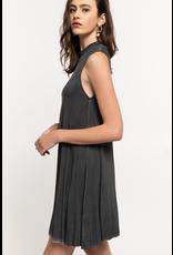 Pol Clothing Mockneck Sleeveless Swing Dress