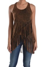 T Party Fringed Mineral Washed Sleeveless Top