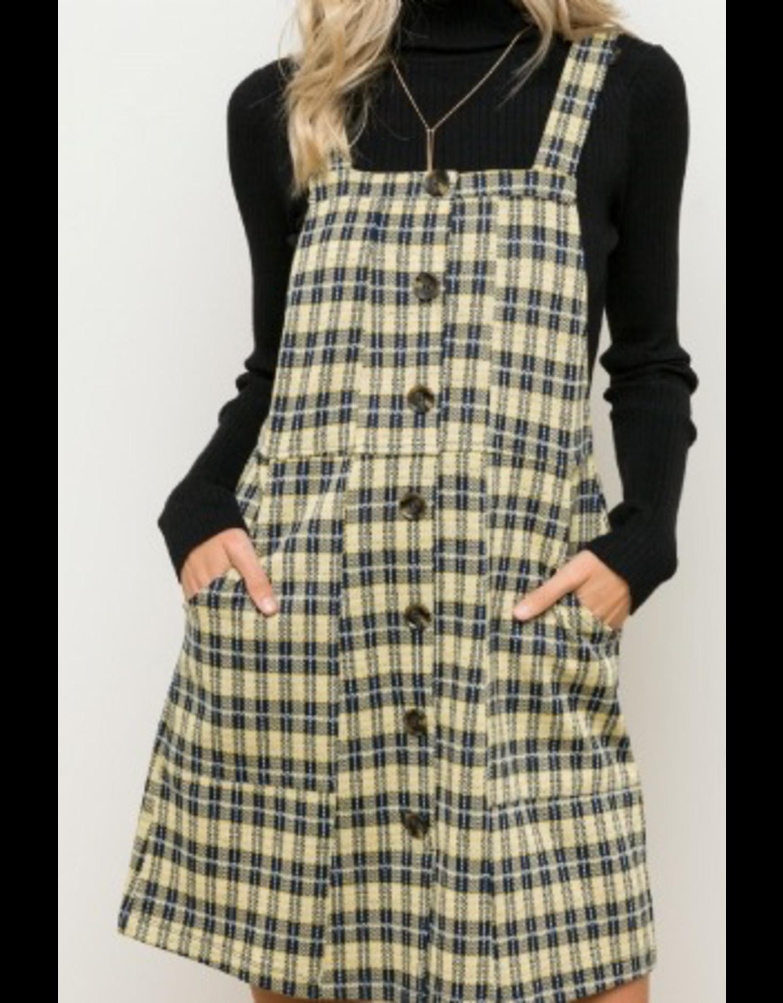 Hem & Thread Button Front Overall Plaid Mini Dress