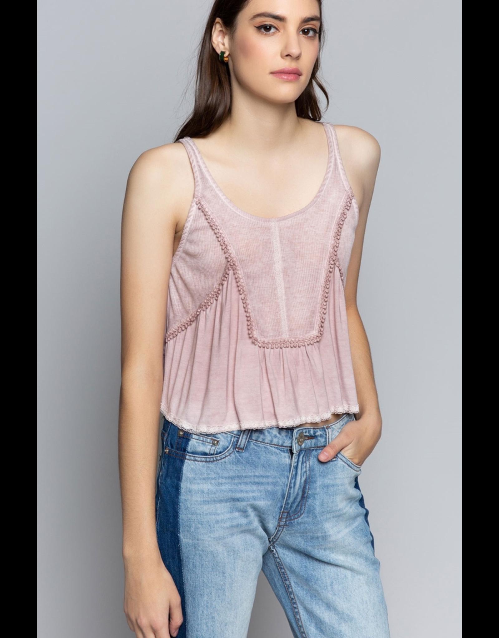 Pol Clothing Rib Knit Panel Crop Top