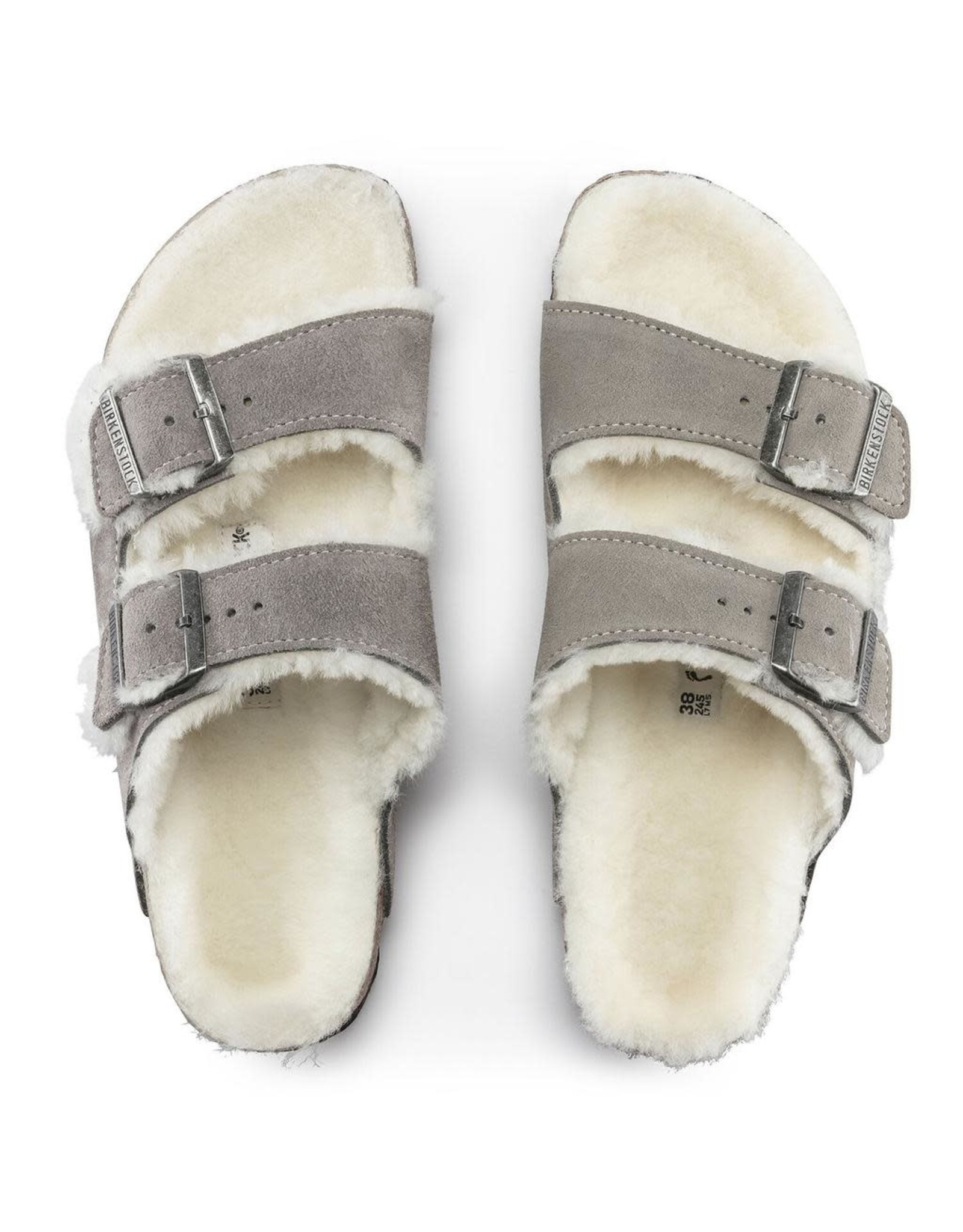 Birkenstock Arizona Suede Stone Coin with Shearling Fur Lining