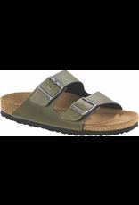 Birkenstock Arizona Sandal-Oive Pull Up Birko-Flor