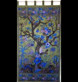 India Arts Tree of Life Curtain-Olive Green
