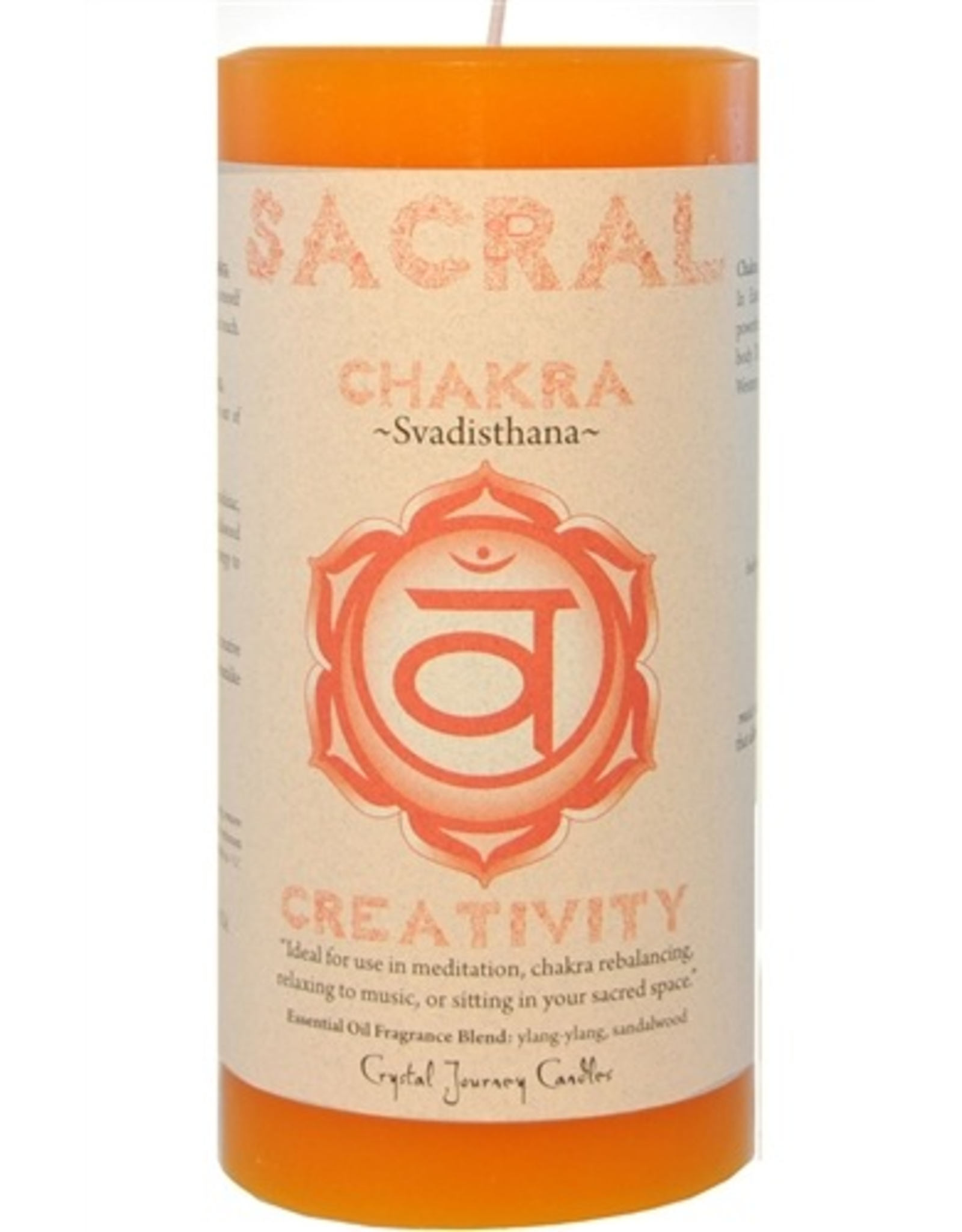 Crystal Journey Chakra Pillar 3x6 Candle-Sacral