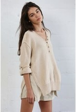 By Together Button Down V-Neck Knit Sweater Tunic