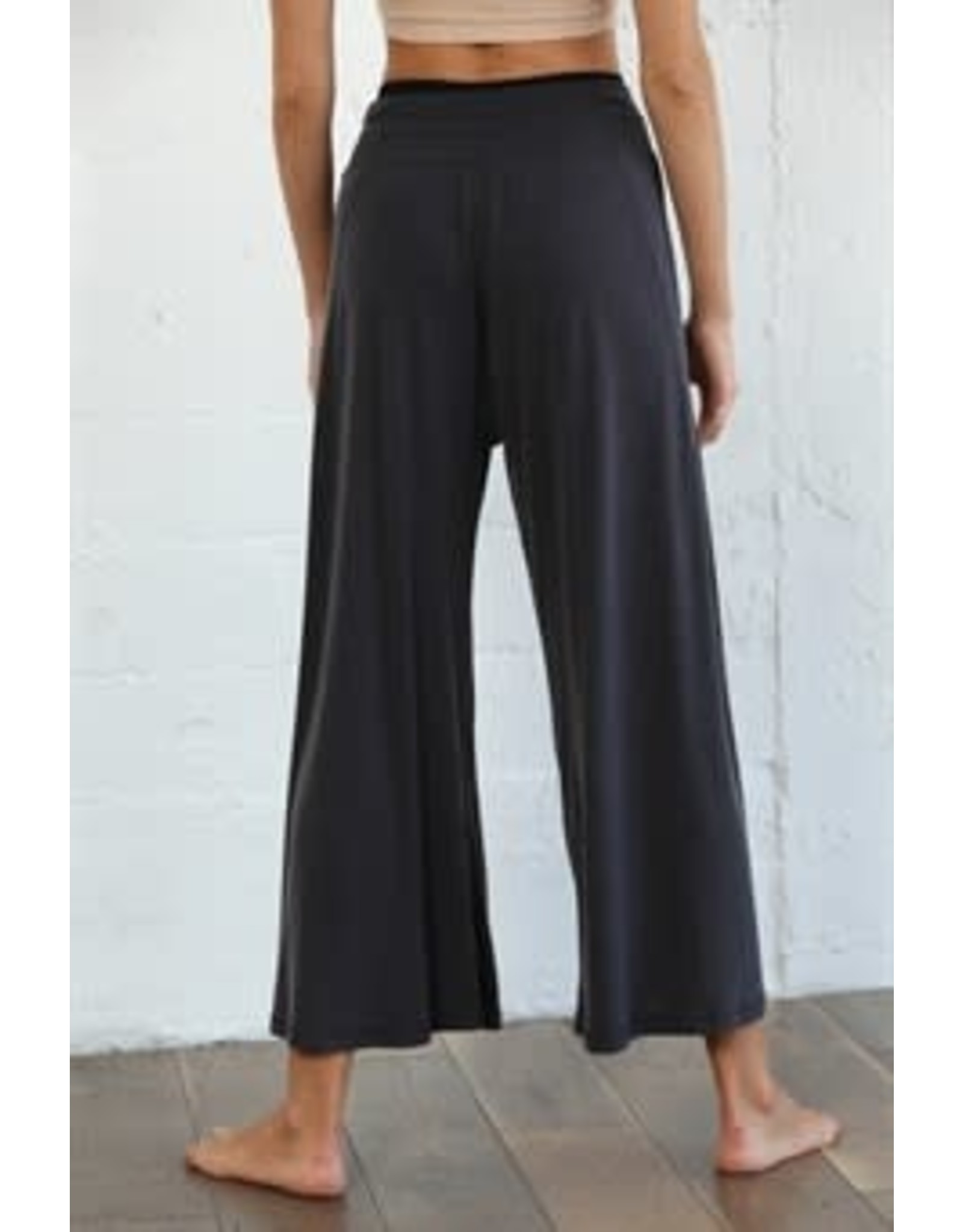 By Together Wide Leg Rib Pants with Front Waist Tie