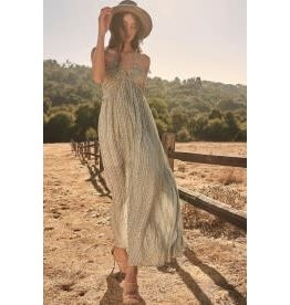 Promesa Stripe Plunge Neckline Maxi Dress