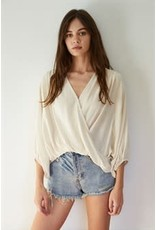 By Together Gauze Overlapped Quarter Sleeve Top