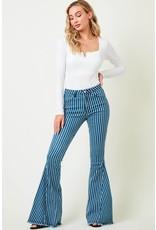 Saints & Hearts Stripe Denim Flare Bell Bottom  Pants