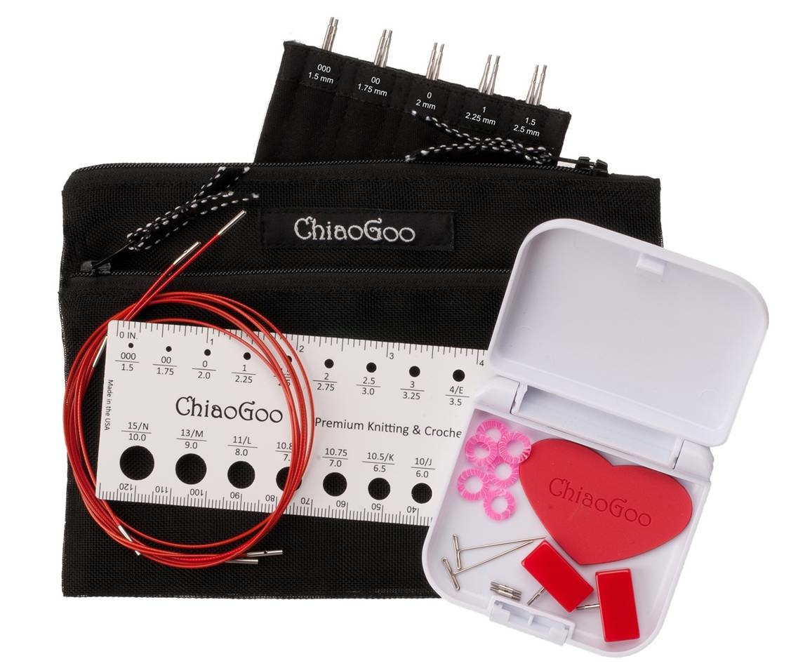 "ChiaoGoo Red Lace Twist Set 5"""