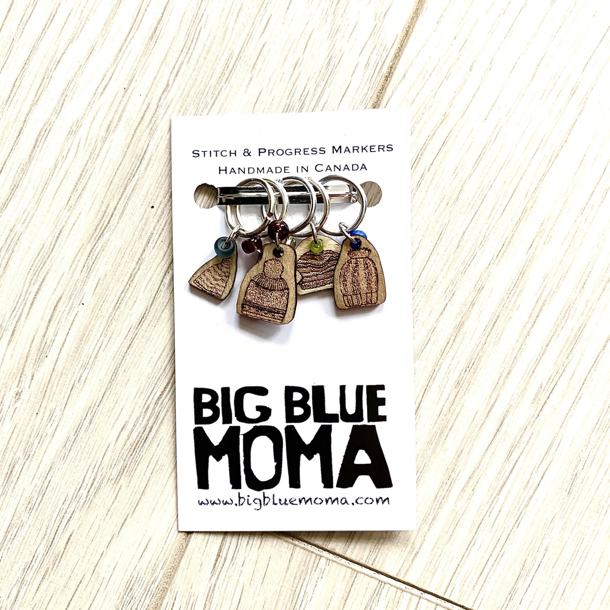 Big Blue Moma Toque Stitch Markers