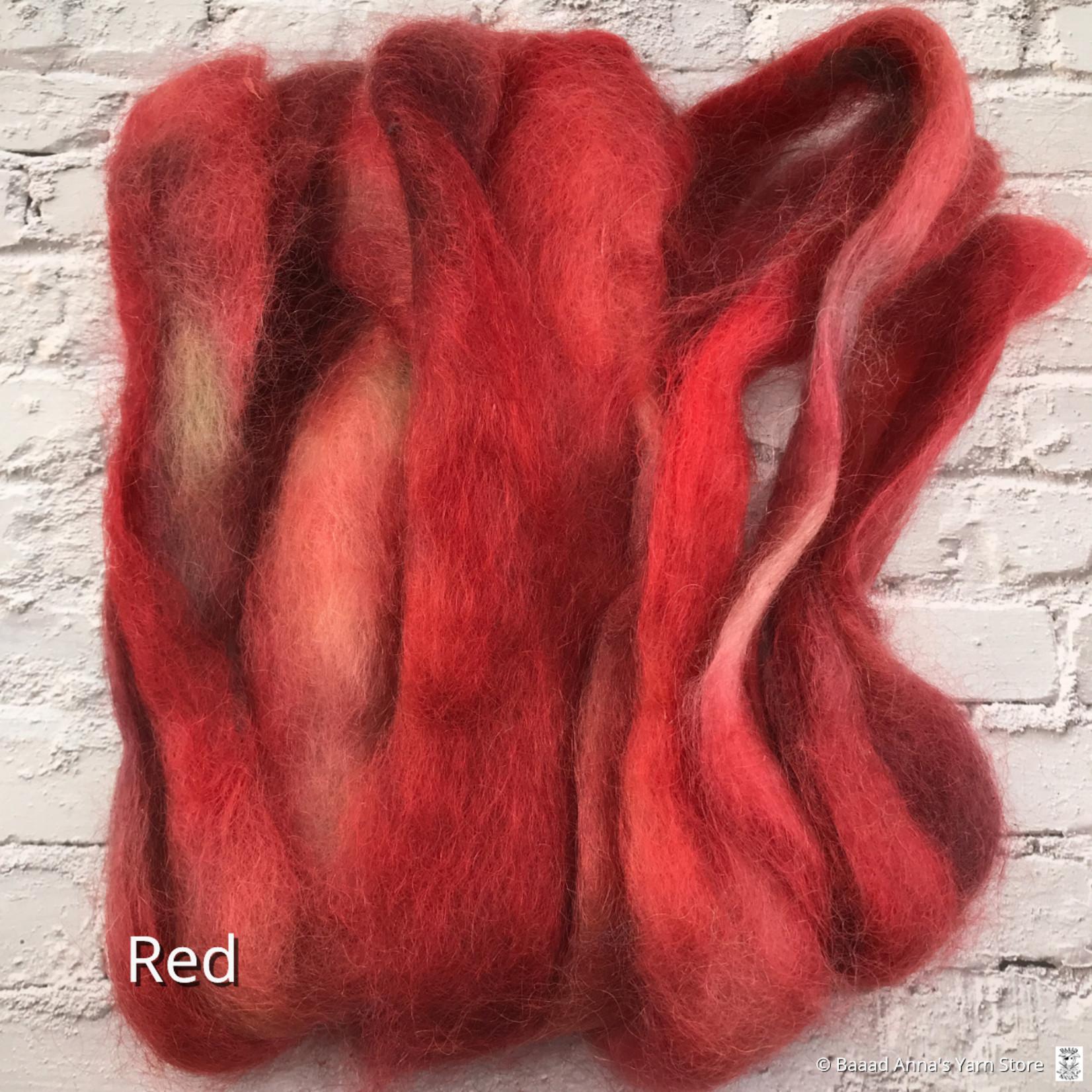 Cattails Farm Fibre 50g Hand Dyed Mohair Roving