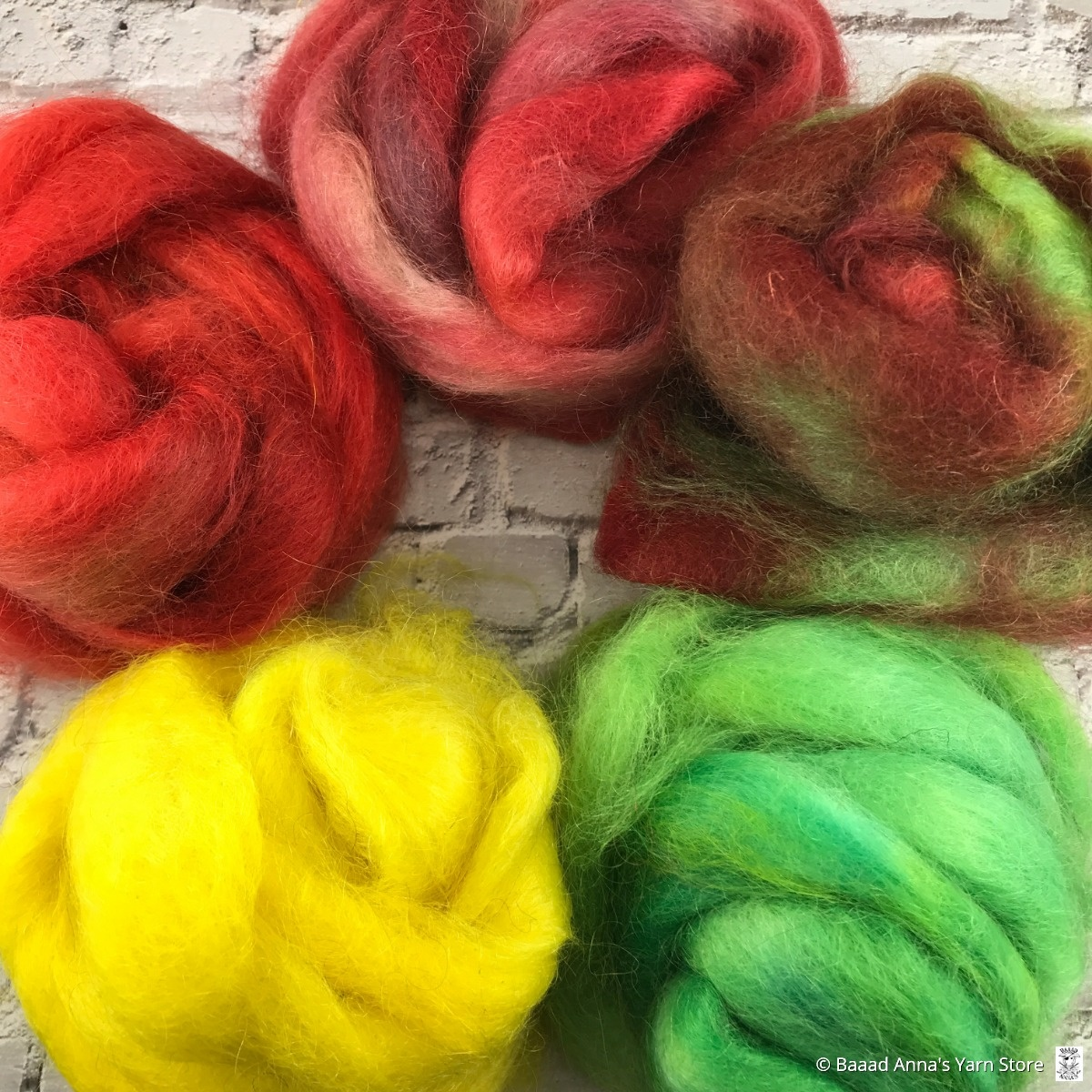 Cattails Farm Fibre 50g Hand Dyed Mohair Roving