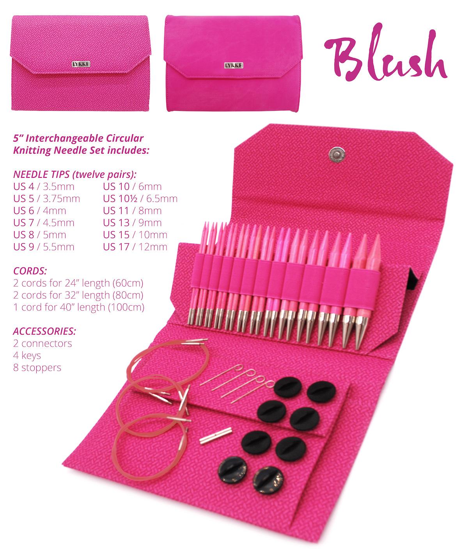 """Lykke Lykke 5"""" IC Blush Basketweave Needle Set"""