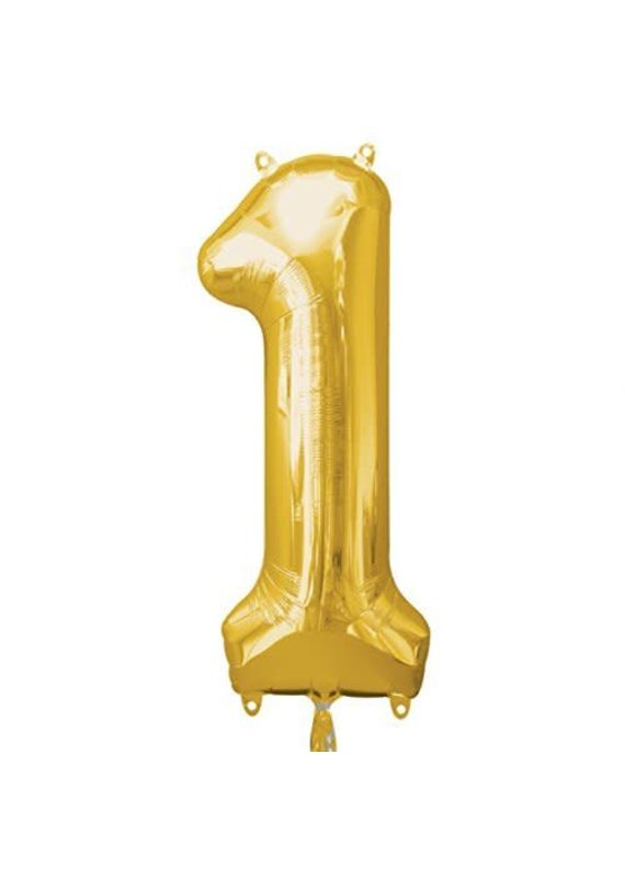 """*****Gold Number 1 One Balloon 34"""" Tall"""