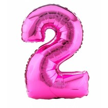 "*Hot Pink Number 2 Two Balloon 33"" Tall"