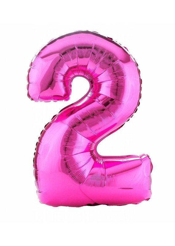 """****Hot Pink Number 2 Two Balloon 33"""" Tall"""