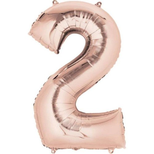 "*Rose Gold Number 2 Two Balloon 33"" Tall"