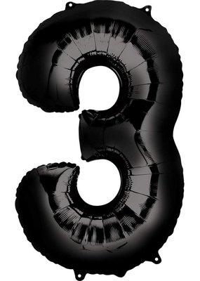 "***Black Number 3 Three Balloon 34"" Tall"