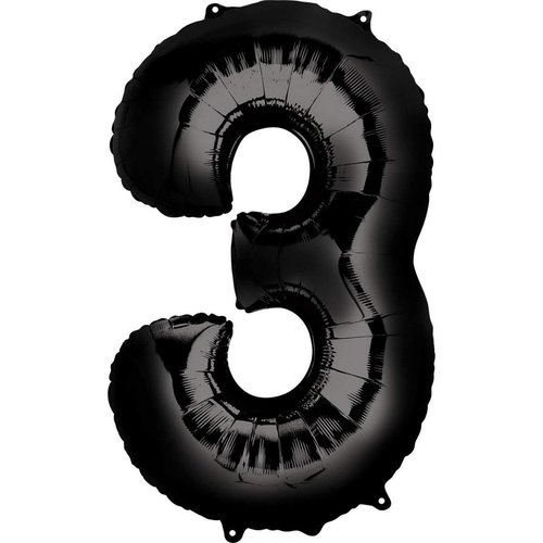 "*Black Number 3 Three Balloon 34"" Tall"