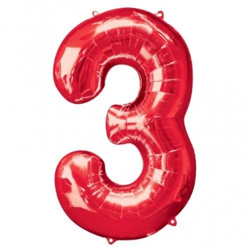 "*Red Number 3 Three Balloon 34"" Tall"