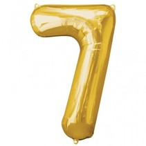"***Gold Number 7 Seven Balloon 35"" Tall"
