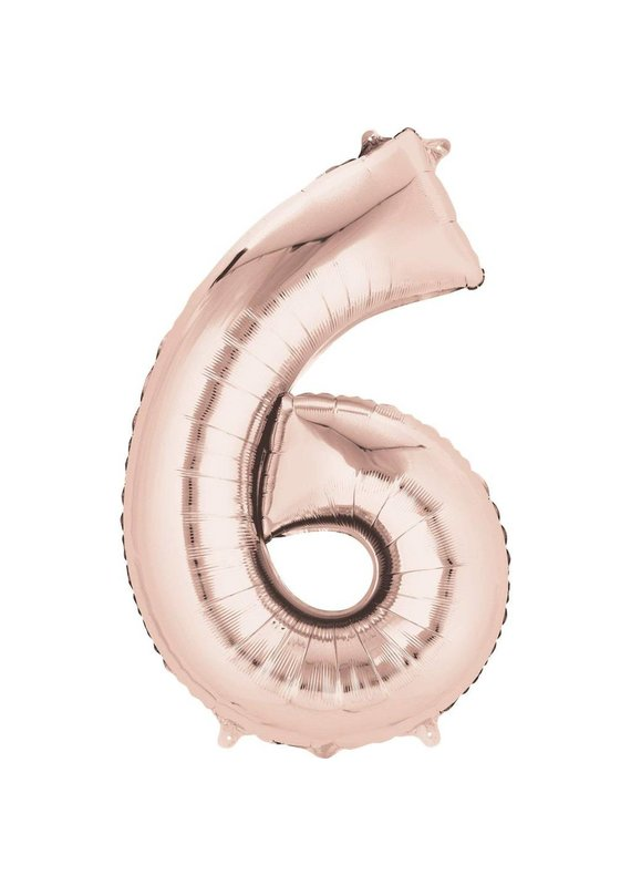"""****Rose Gold Number 6 Six Balloon 34"""" Tall"""