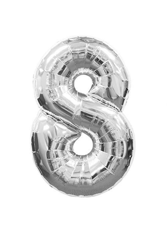 """*****Silver Number 8 Eight Balloon 34"""" Tall"""