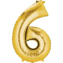 "***Gold Number 6 Six Balloon 34"" Tall"