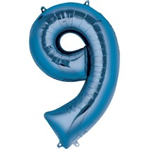 "***Blue Number 9 Nine Balloon 34"" Tall"