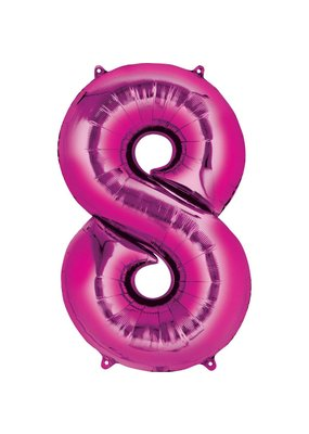 """***Hot Pink Number 8 Eight Balloon 34"""" Tall"""