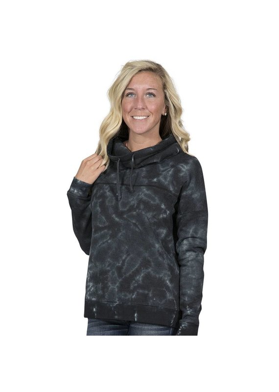 Black Tie Dye Cowl Neck Pull Over