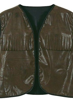 ***Cowboy Vest with Fringe Faux Brown Leather