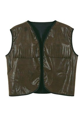 ****Cowboy Vest with Fringe Faux Brown Leather