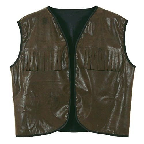 Cowboy Vest with Fringe Faux Brown Leather