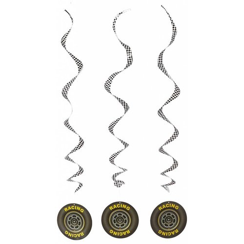 Racing Tire Whirls Party Decor 3ct