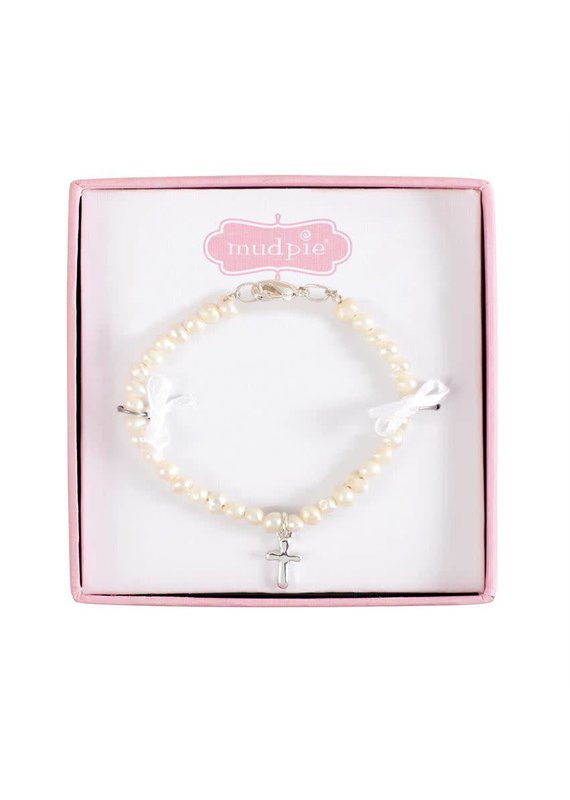 ***Fresh Water Pearl Bracelet with Cross