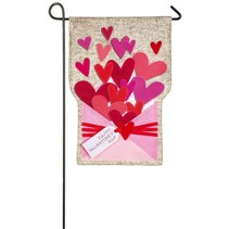 Envelope of Wishes Valentine Garden Linen Flag