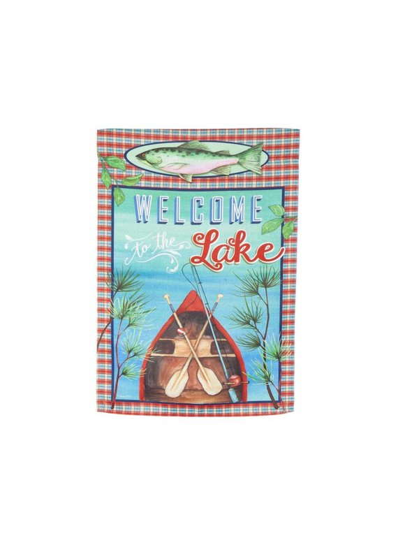****Welcome to the Lake Suede Garden Flag