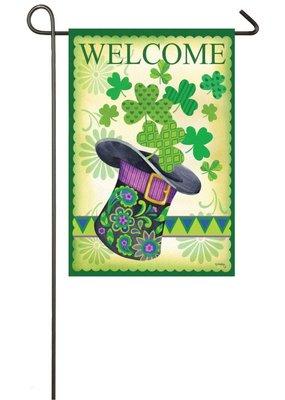 ***St. Pat's Hat Suede Garden Flag
