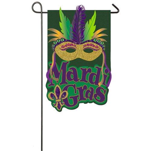 Mardi Gras Mask Burlap Garden Flag