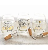 Take Me To Your Litre Corkscrew Stemless Wine Glass