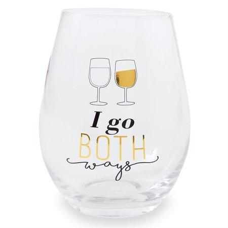 ***I Go Both Ways Stemless Wine Glass
