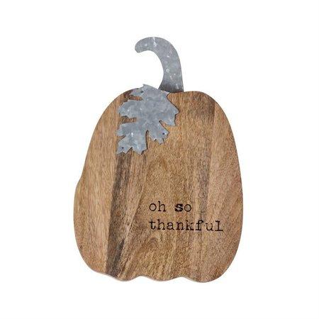 Thankful Wood & Tin Pumpkin Sitter