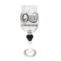 Queen of Damn Near Everything Wine Glass