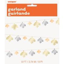 ***Metallic Fall Leaf 9' Garland