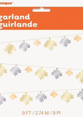 ***Metallic Fall Leaf 9' Garland