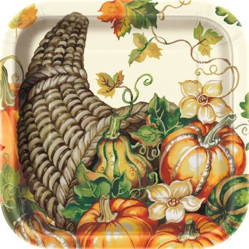 "***Harvest Pumpkins 9"" Square Plates 8ct"