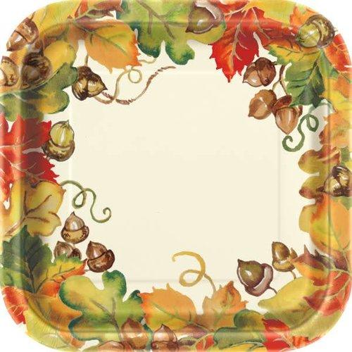 "***Harvest Pumpkins 7"" Square Plates 8ct"