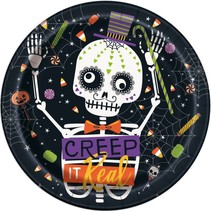 ***Skeleton Trick or Treat 9in Plate